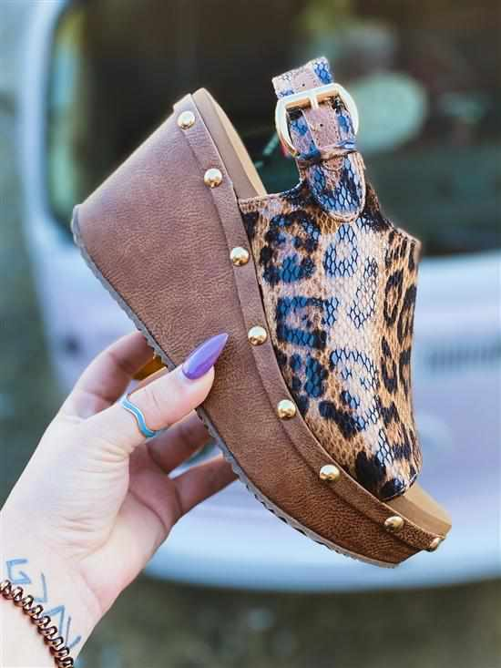Porsum Tan Leopard Wedge - Tan-Southern Fried Chics