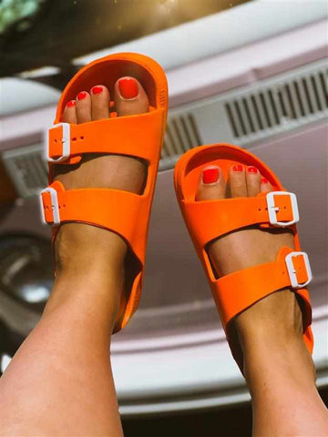 Double Buckle Sandal - Orange