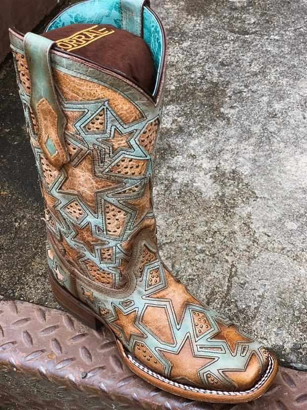 Turquoise Brown Star Studded Inlay Boot by Corral