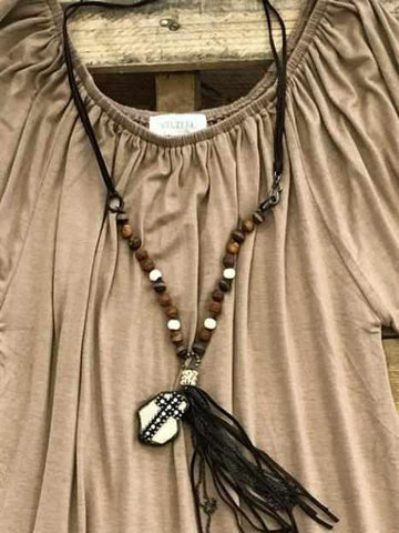 Carved Wood Necklace with Cross Medallion