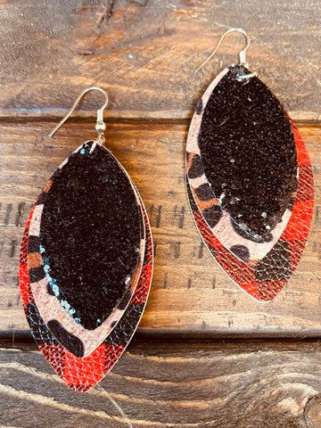 All In One Layered Earrings - Leopard-Southern Fried Chics