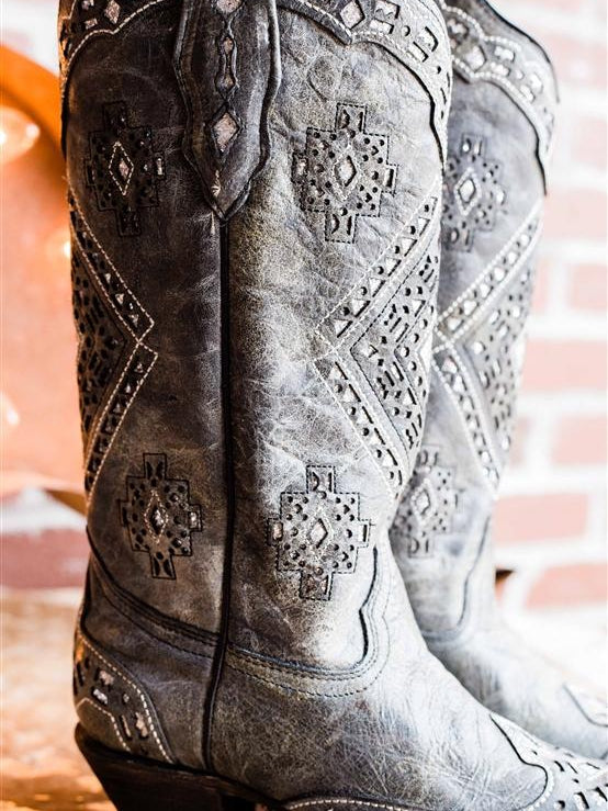 Black Glitter Inlay Boot by Corral