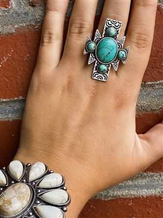 Aztec Natural Turquoise Adjustable Ring-Southern Fried Chics