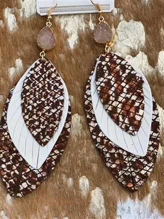 Nothing Better Feather Earring - Brown Cream
