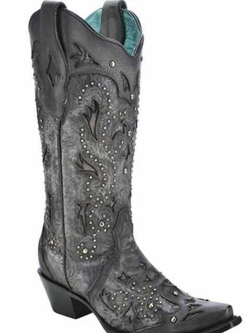 Black Embossed & Studs - Boots by Corral
