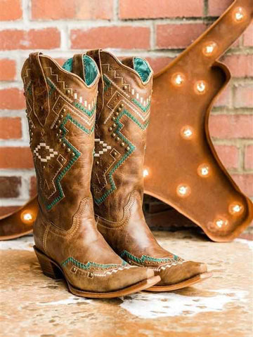Honey Studded Snip Toe Boot by Corral