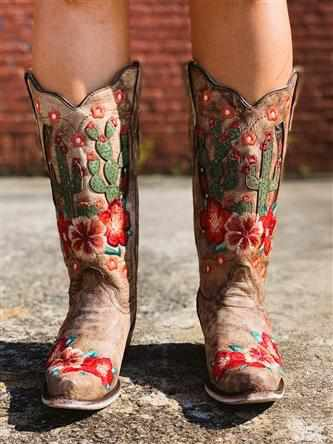 Taupe Cactus Inlay And Embroidery Boot by Corral