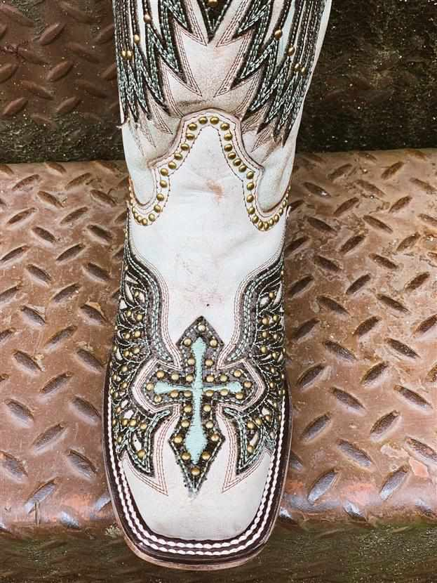 Turquoise Wings & Cross Overlay Boots by Corral