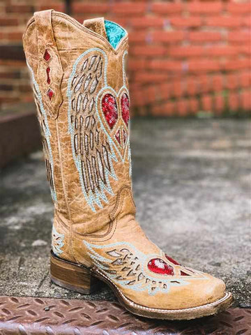 Sand Wings & Heart Inlay Boot by Corral