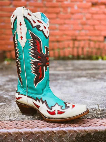 Turquoise Eagle Overlay Boot by Corral