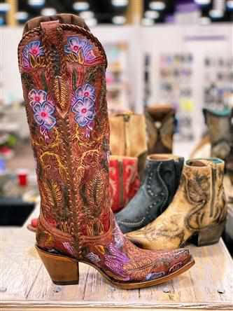 Honey Tooled Tall Boot by Corral