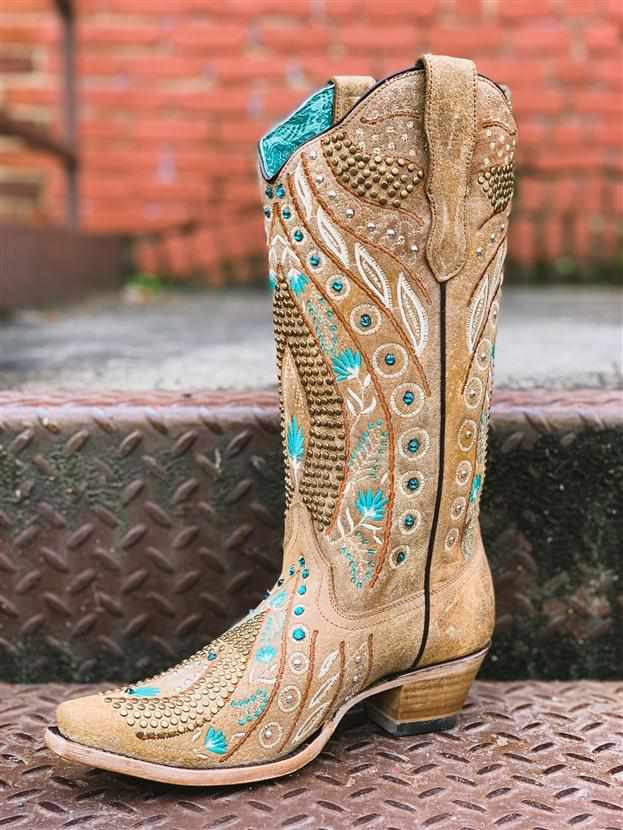 Golden Studs & Flowered Embroidery Boot by Corral