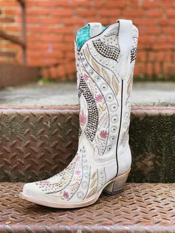 White Floral Embroidery With Crystals & Studs