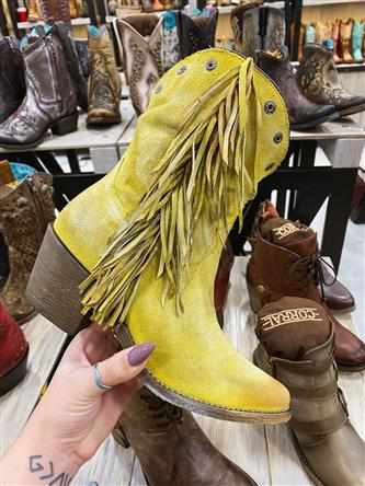 Yellow Stud And Fringe Ankle Boot by Corral
