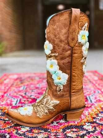 Tobacco Hand Painted & Floral Woven Boot