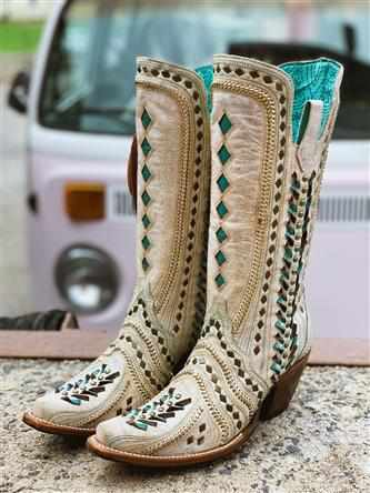 Showstopper White Inlay & Studs Boot by CORRAL