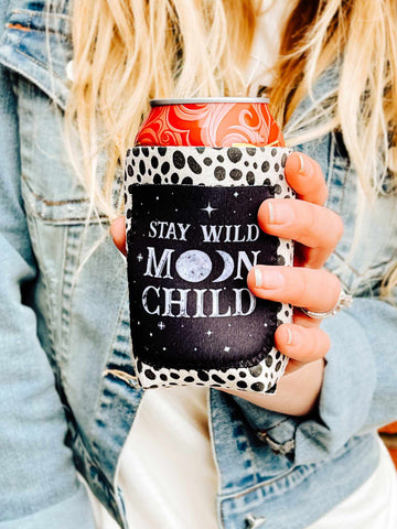 Moon Child Cow Print Koozie