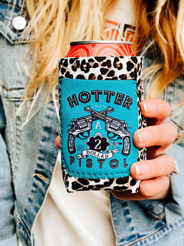 Hotter Than A $2 Pistol Snow Leopard Koozie-Koozie-Southern Fried Chics