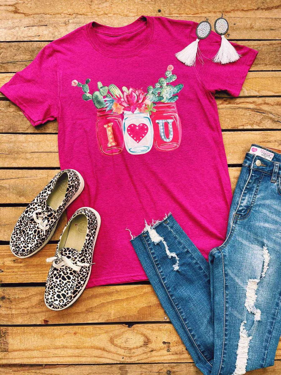 I Love You Cactus Jar Tee - Hella Pink