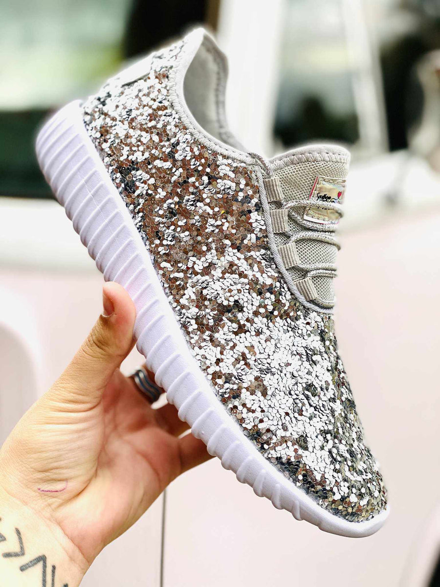 Glitter Bomb Sneakers - Silver-Southern Fried Chics