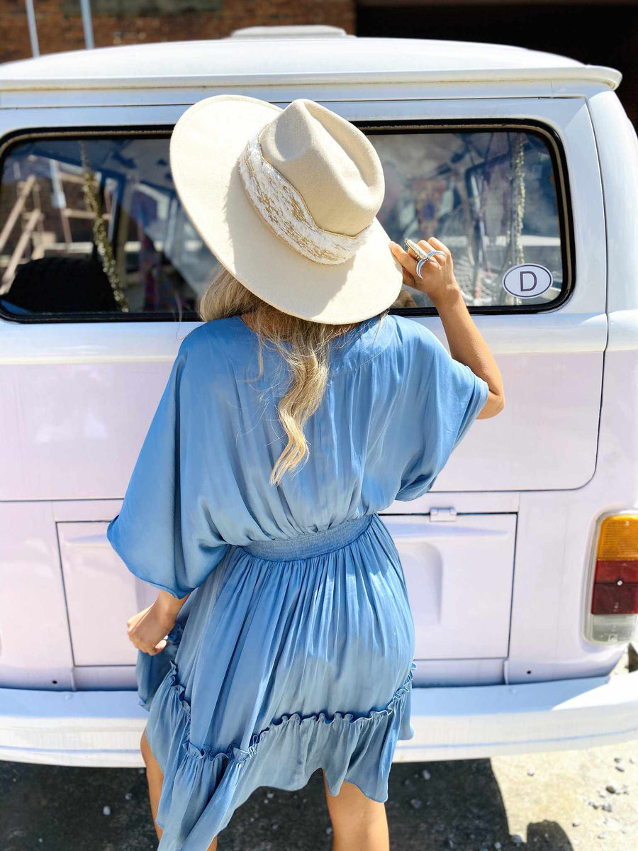 She Is Carolina Dolman Dress - Blue-Southern Fried Chics
