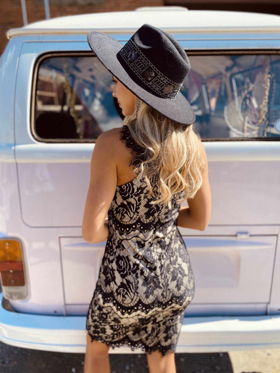 May Flowers Lace Dress - Black-Southern Fried Chics
