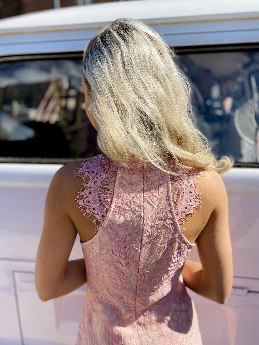 May Flowers Lace Dress - Blush-Southern Fried Chics