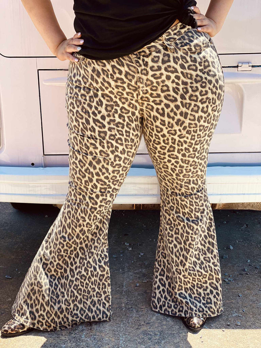 Leopard High Waist Super Flare-Southern Fried Chics