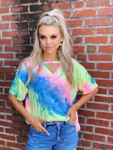 Tie Dye Keyhole Top-Southern Fried Chics