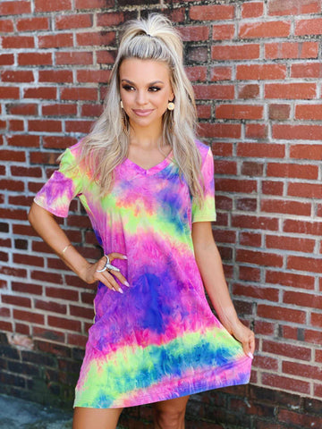 Short Sleeve Tie Dye Dress-Southern Fried Chics