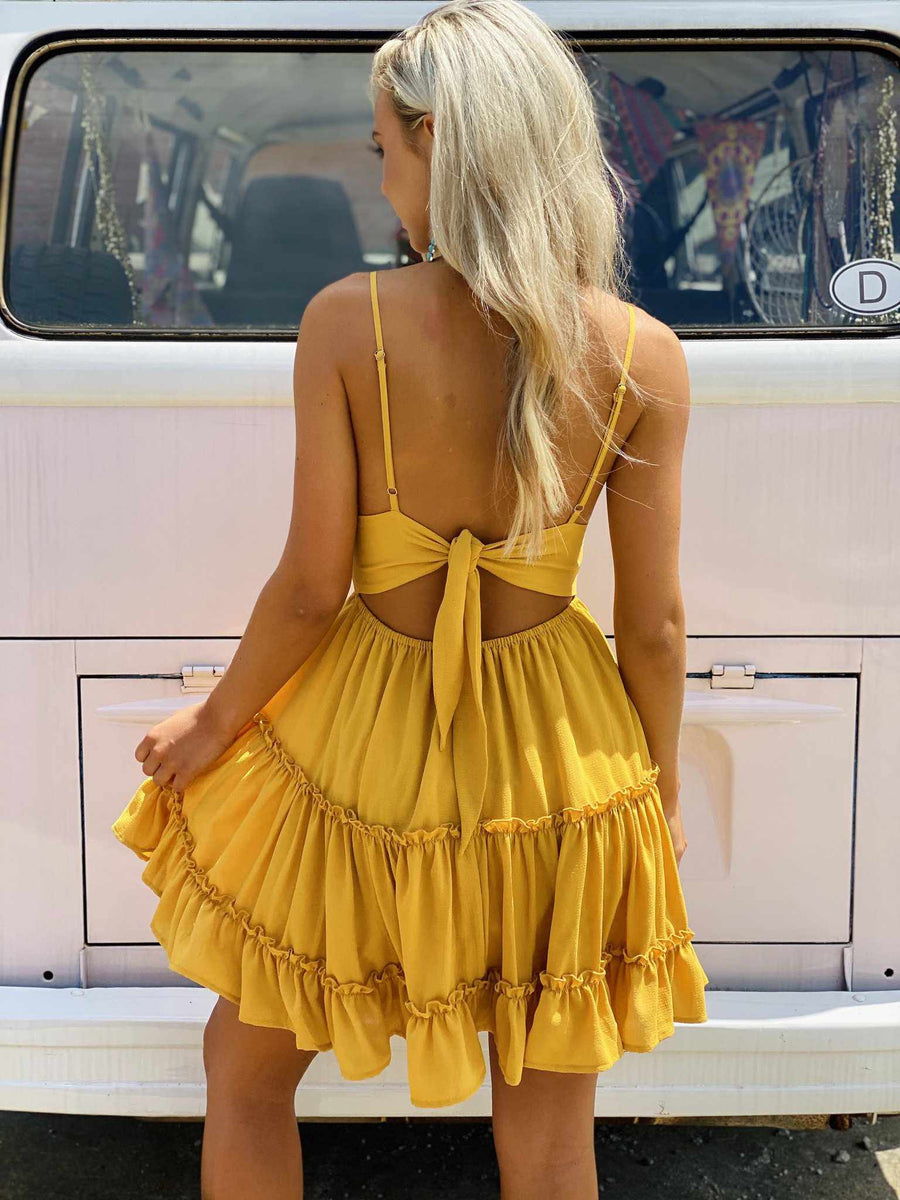 Let Me Down Easy Dress - Mustard