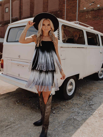 Lets Go Girls Fringe Dress - Black