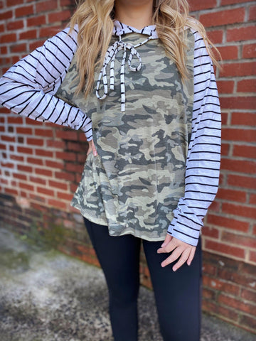 Find Your Way Striped And Camo Hoodie