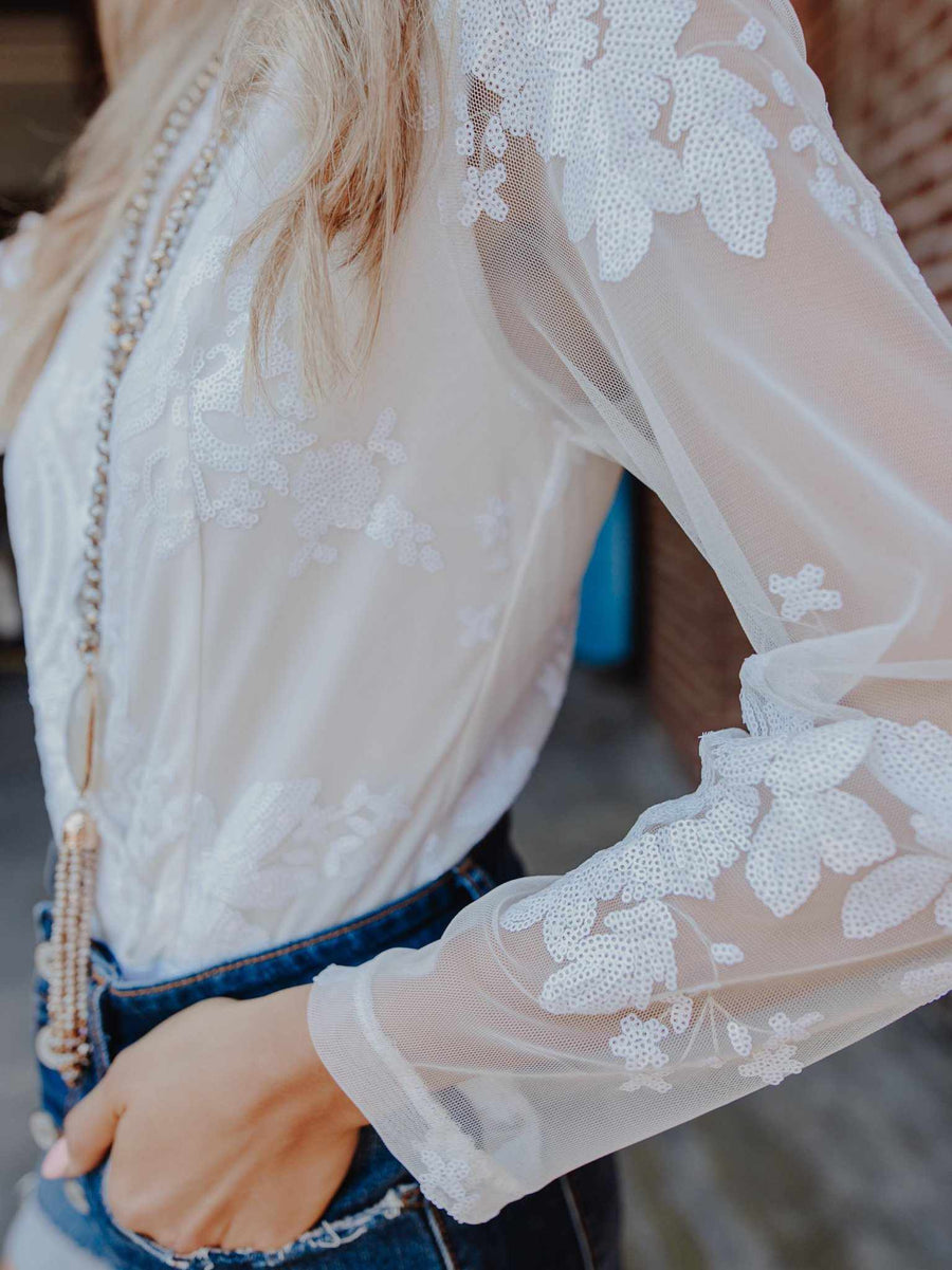 Enchanted Nights Bodysuit - White-Southern Fried Chics