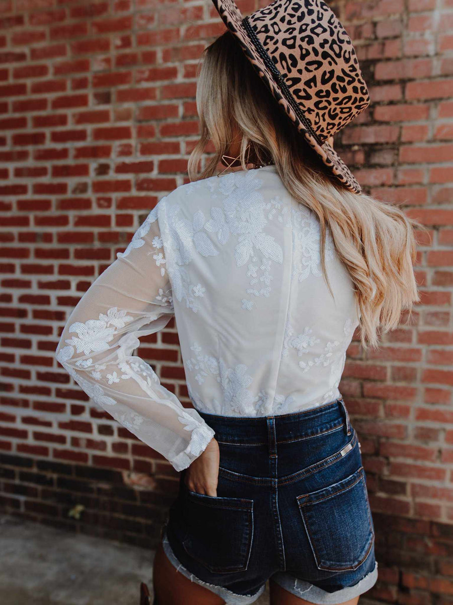long sleeve boho rustic white bodysuit with sequins