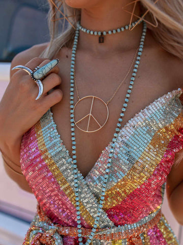 Peace of Mind Peace Sign Necklace - Gold-Necklaces-Southern Fried Chics