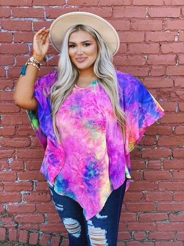 Open Options Tie Dye Tunic Top - Bright Rainbow