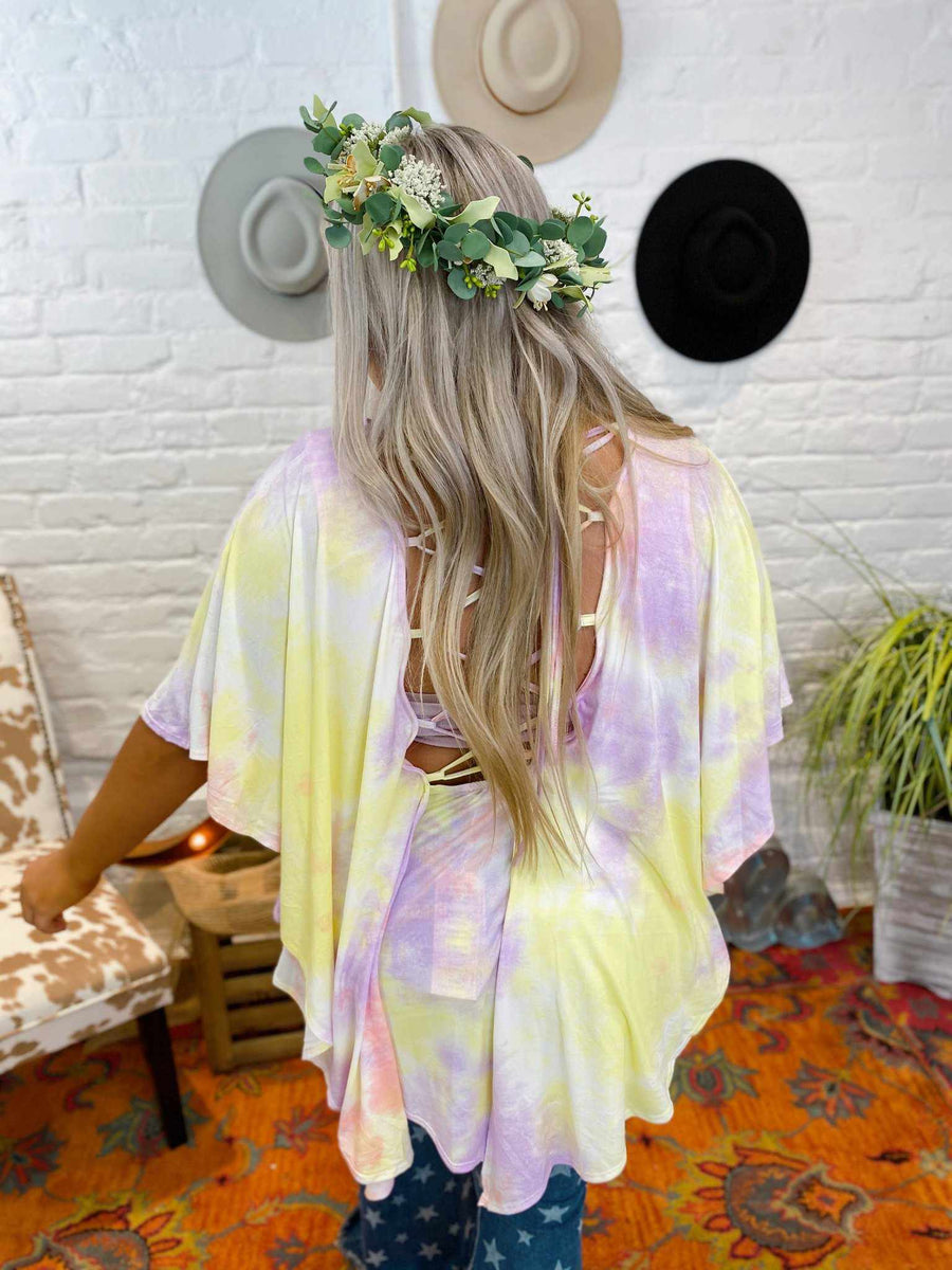 Open Options Tie Dye Tunic Top - Pink Lemon-Clothing-Southern Fried Chics