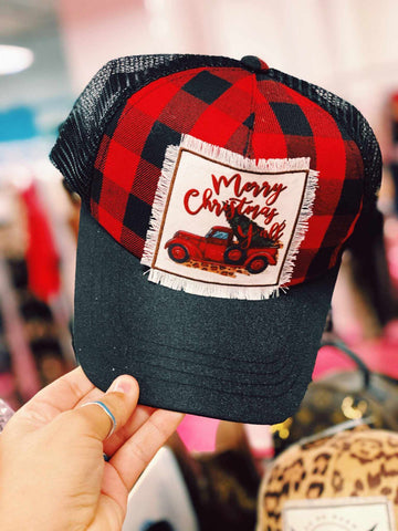Truckin' Into Christmas Buffalo Plaid Trucker Hat
