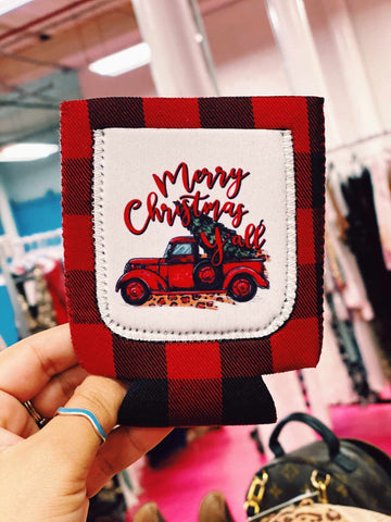Truckin' Into Christmas Buffalo Plaid Koozie