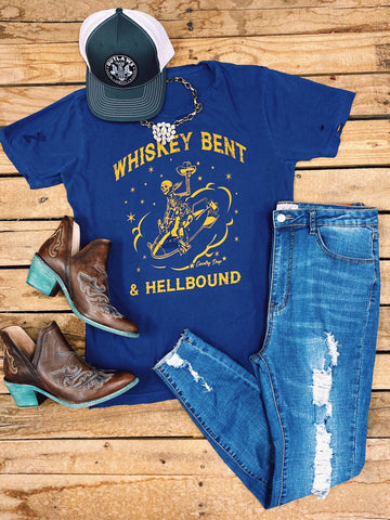 Whiskey Bent And Hell Bound Navy Tee
