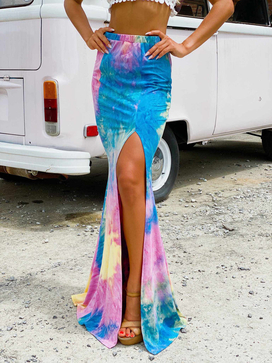 Tie Dye Maxi Skirt - Bright-Southern Fried Chics