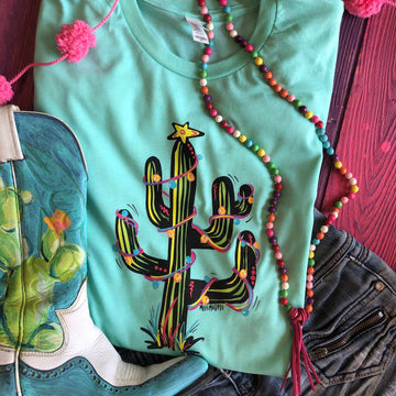 Christmas Cactus With Lights Tee - Mint