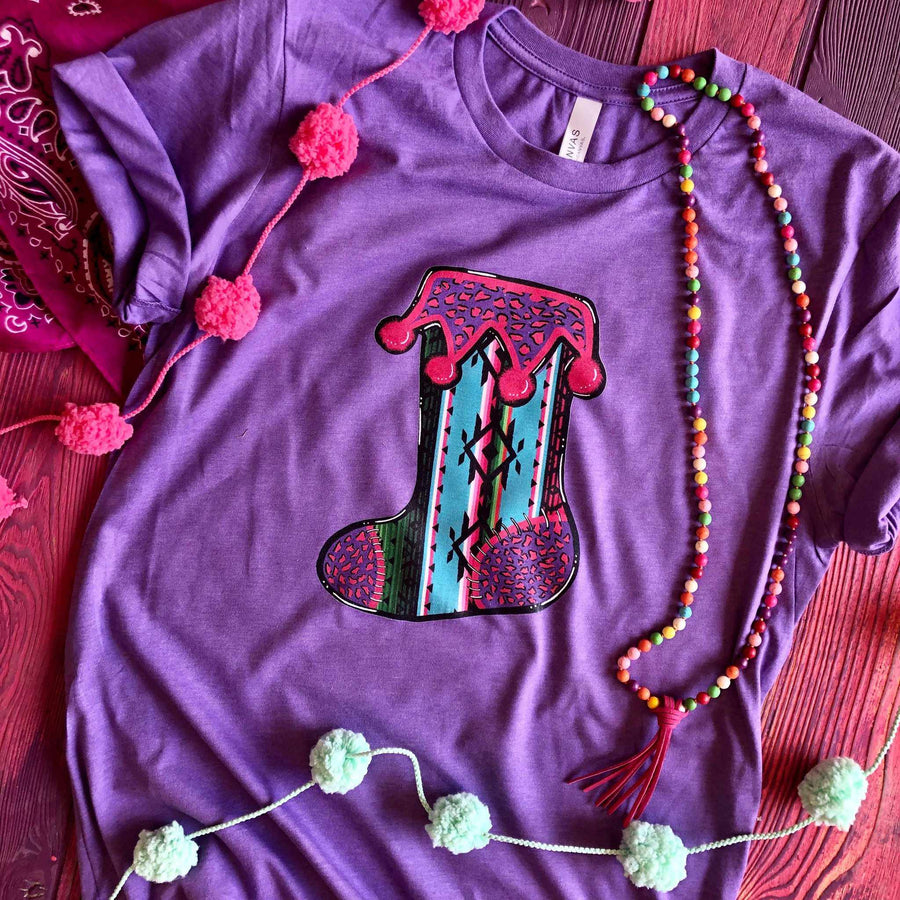 Serape Christmas Stocking Tee - Purple