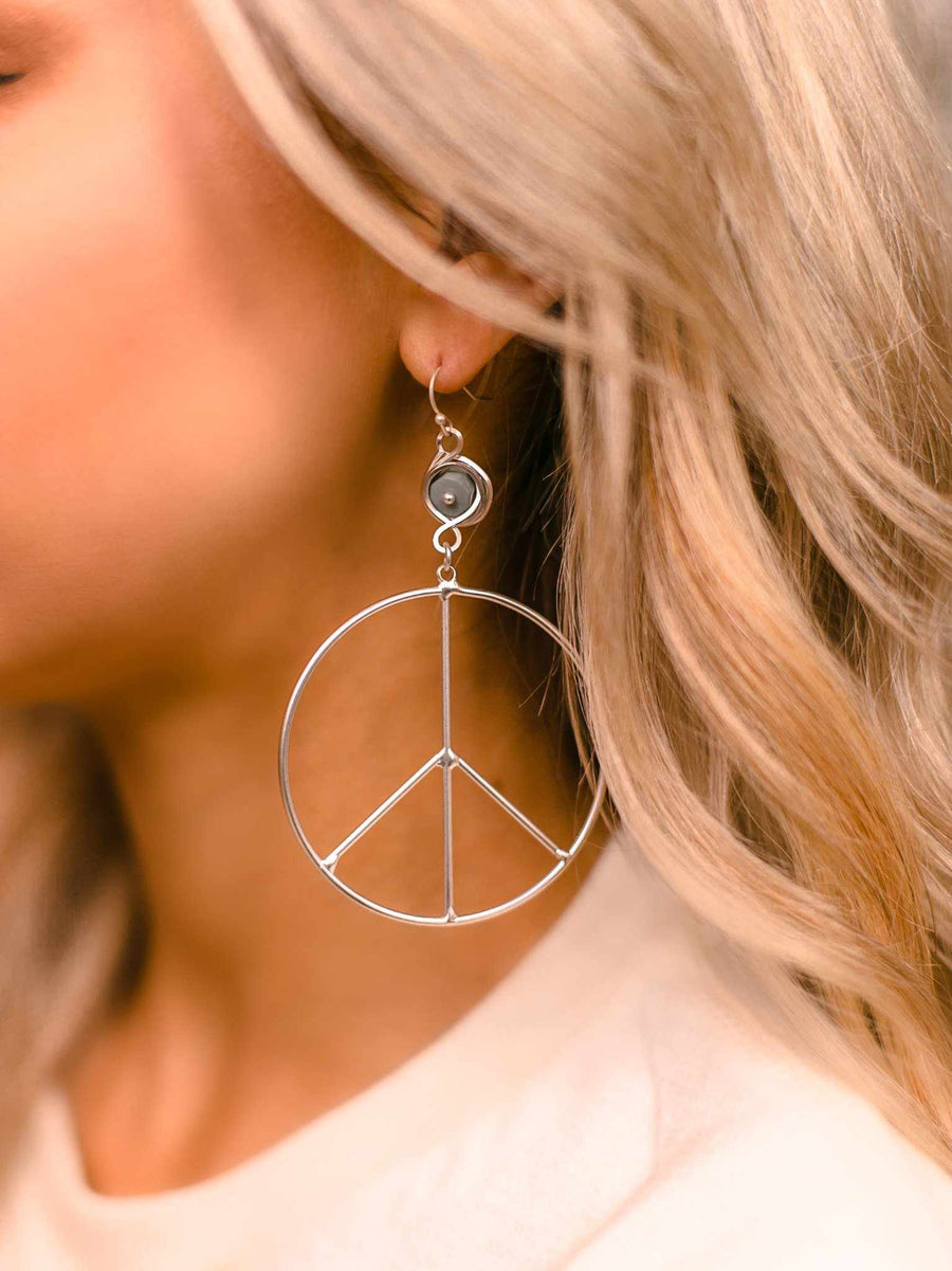 Peace of Mind Peace Sign Earring - Silver