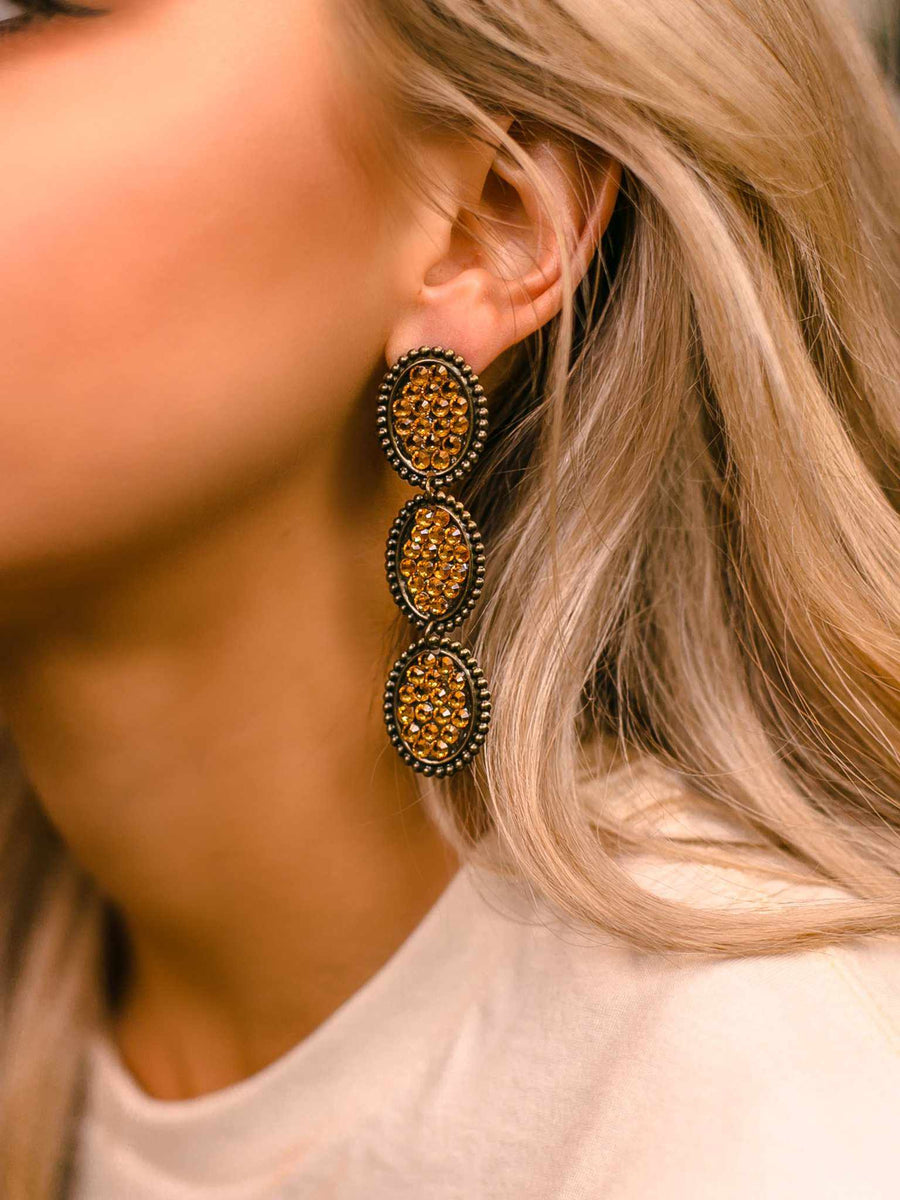 Reminiscent Tri Round Dangle Earring - Mustard