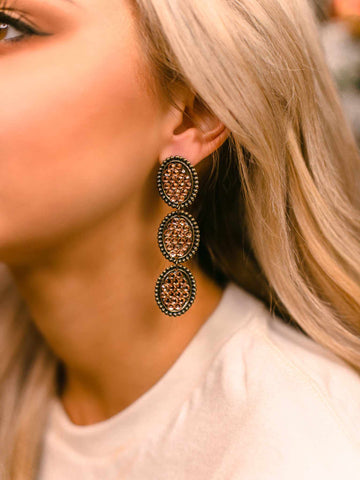 Reminiscent Tri Round Dangle Earring - Rose Gold-Earrings-Southern Fried Chics