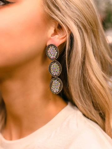 Reminiscent Tri Round Dangle Earring - Iridescent-Earrings-Southern Fried Chics