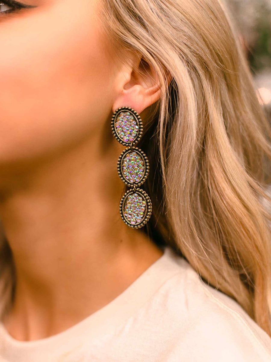 Reminiscent Tri Round Dangle Earring - Iridescent