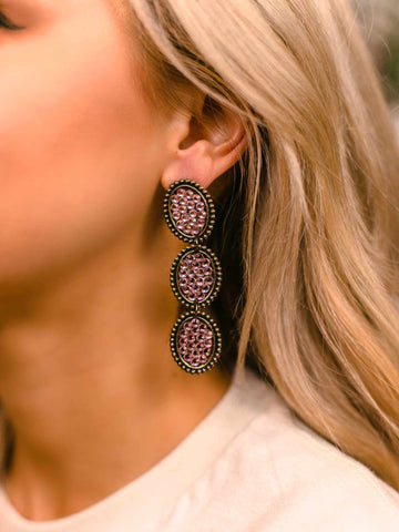 Reminiscent Tri Round Dangle Earring - Blush